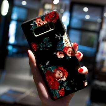 สำหรับซัมซุงกาแล็คซี่ Note 8 PLUS โทรศัพท์มือถือดอกไม้ Soft สีดำเคสโทรศัพท์ฝาครอบ-