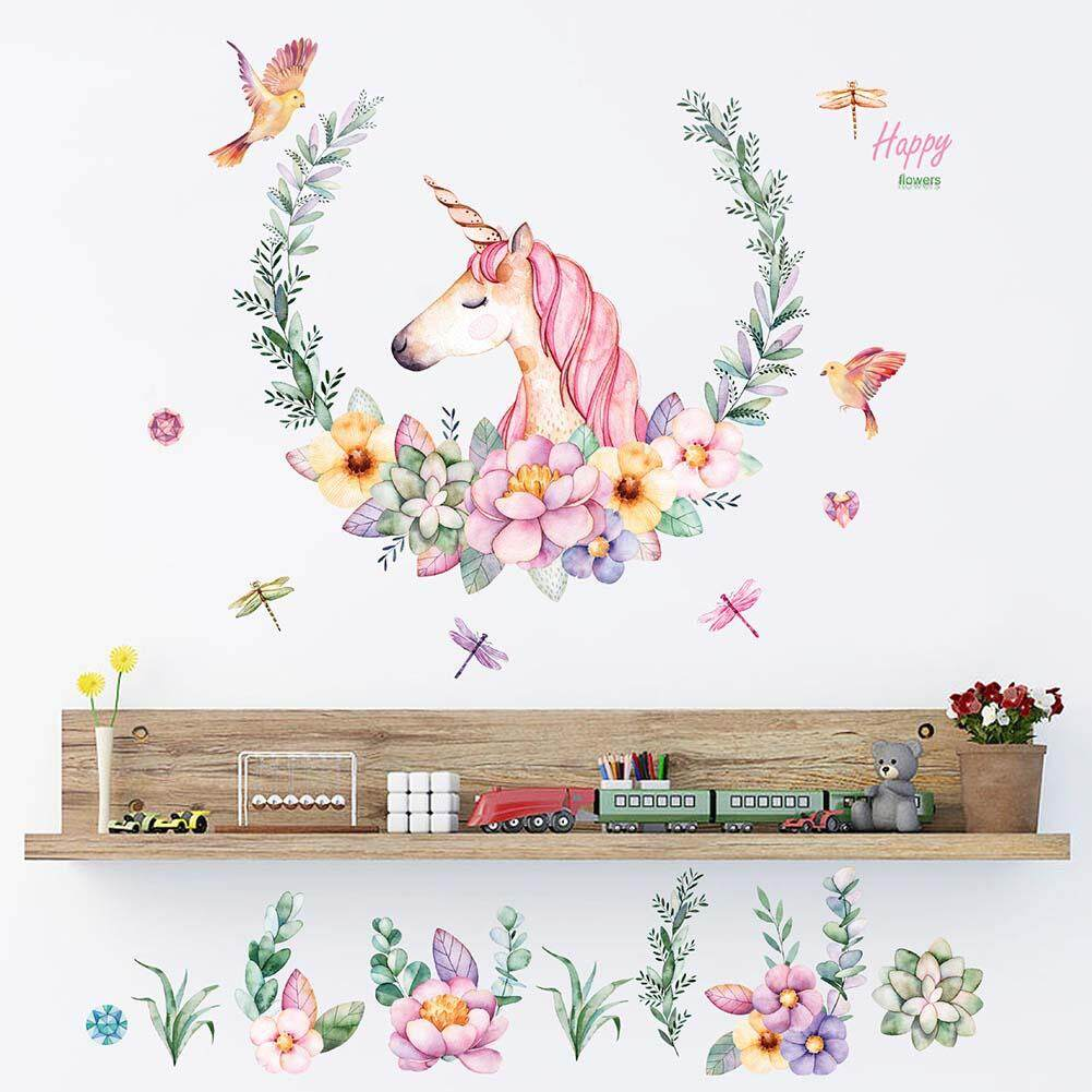 3DCartoon Animal Unicorn Wall Stickers For Kids Room s Room Diy Nursery Wallpaper