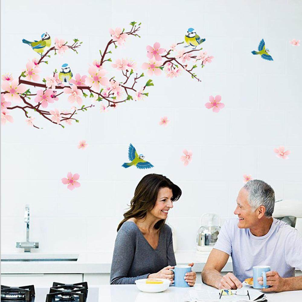Peach Blossom Tree Magpies PVC Wall Decals DIY Home Sticker WallPaper Vinyl Wall arts Pictures Removable Murals For House Decoration Baby Living Rooms Bedroom Toilet