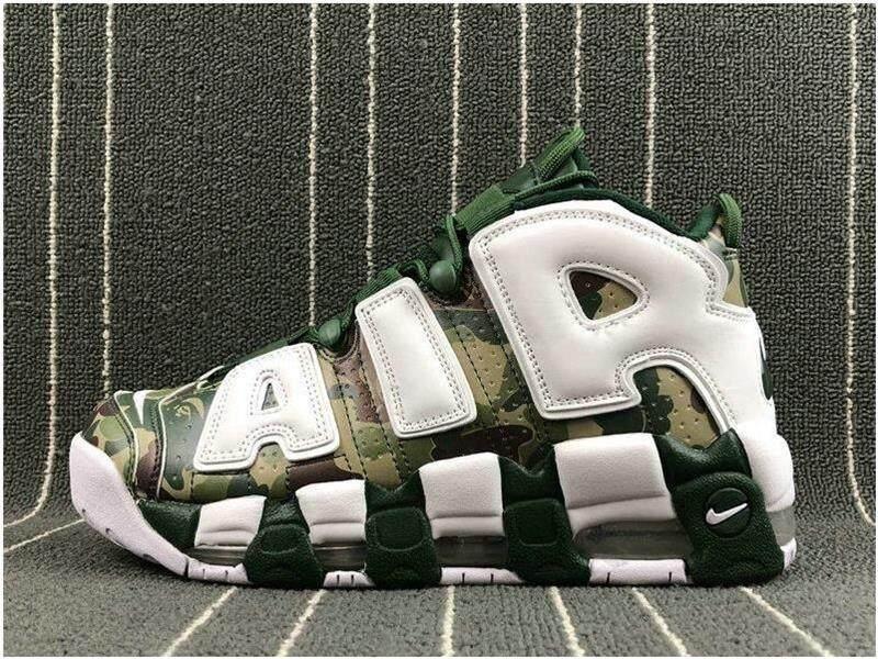 Populer Atasan Original Kualitas Bape X NIKE_air _ Lebih Uptempo Custom Camo Hijau Putih Sepatu Basket