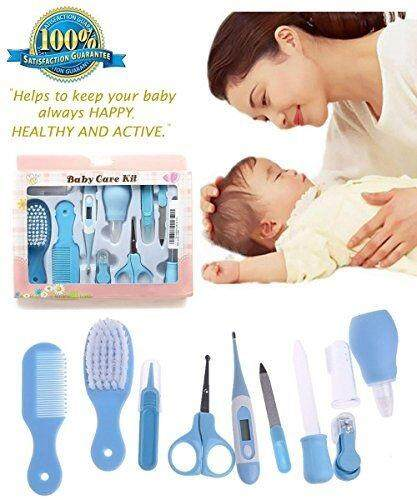 EcoCare 10 Pcs New Born Infant Baby Toddler Bathing Grooming Safety Health Case kits Nursery Kit Gift Set with Thermometer [Florasun]