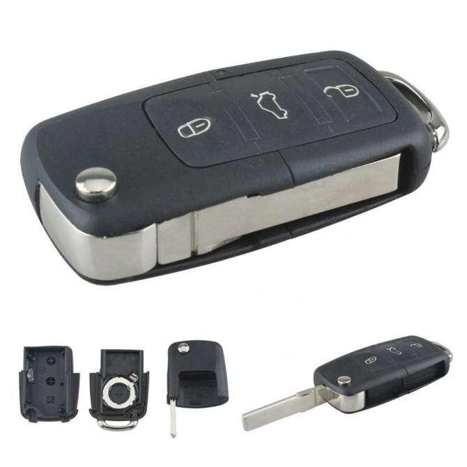 3 Nút Điều Khiển Từ Xa Thay Thế Chìa Khóa Không Chip Với Xe Lật Chìa Khóa Xe Volkswagen MK5
