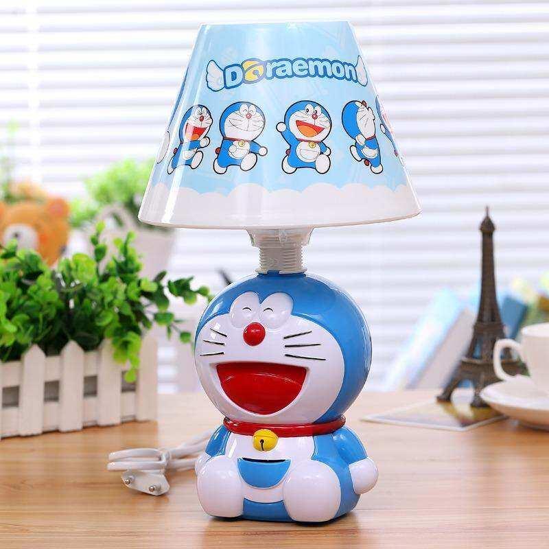 Cute hellokitty Doraemon bedroom small table lamp jingle cat night light bedside lamp creative cartoon desk lamp with mobile phone charging