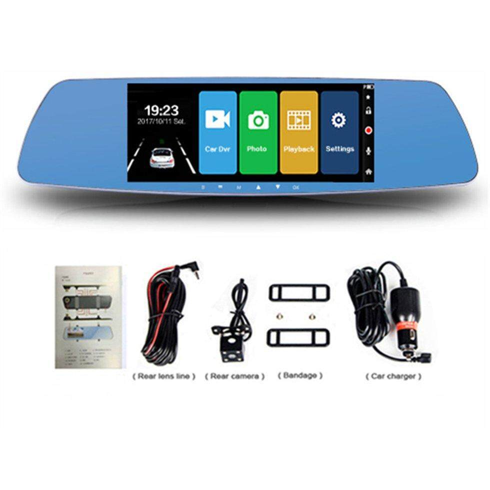 "7"" Touch Screen Car Dvr Dual Lens Rearview Mirror Fhd 1080P Video Recorder(Blue) - intl"