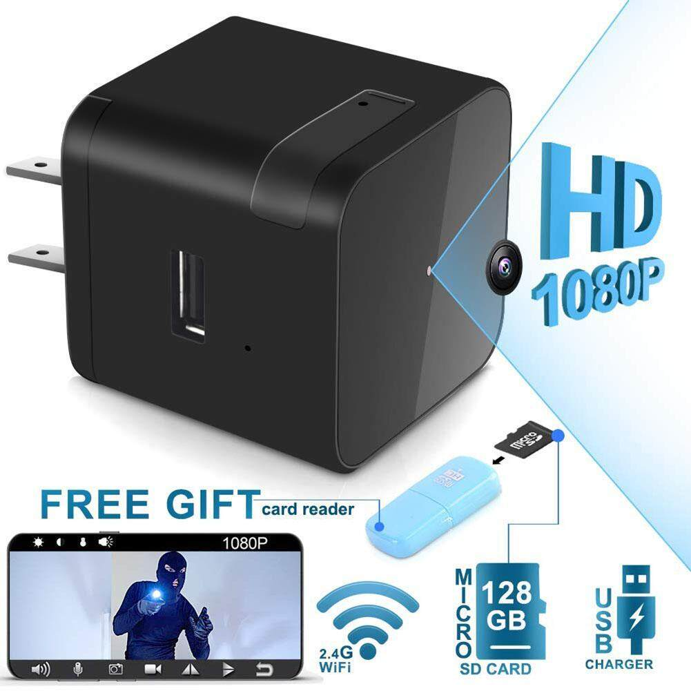 Mini Camera 1080P WiFi Adapter Wall Charger with Night Vision Motion Detection Camera Real Time Home or Office US Plug