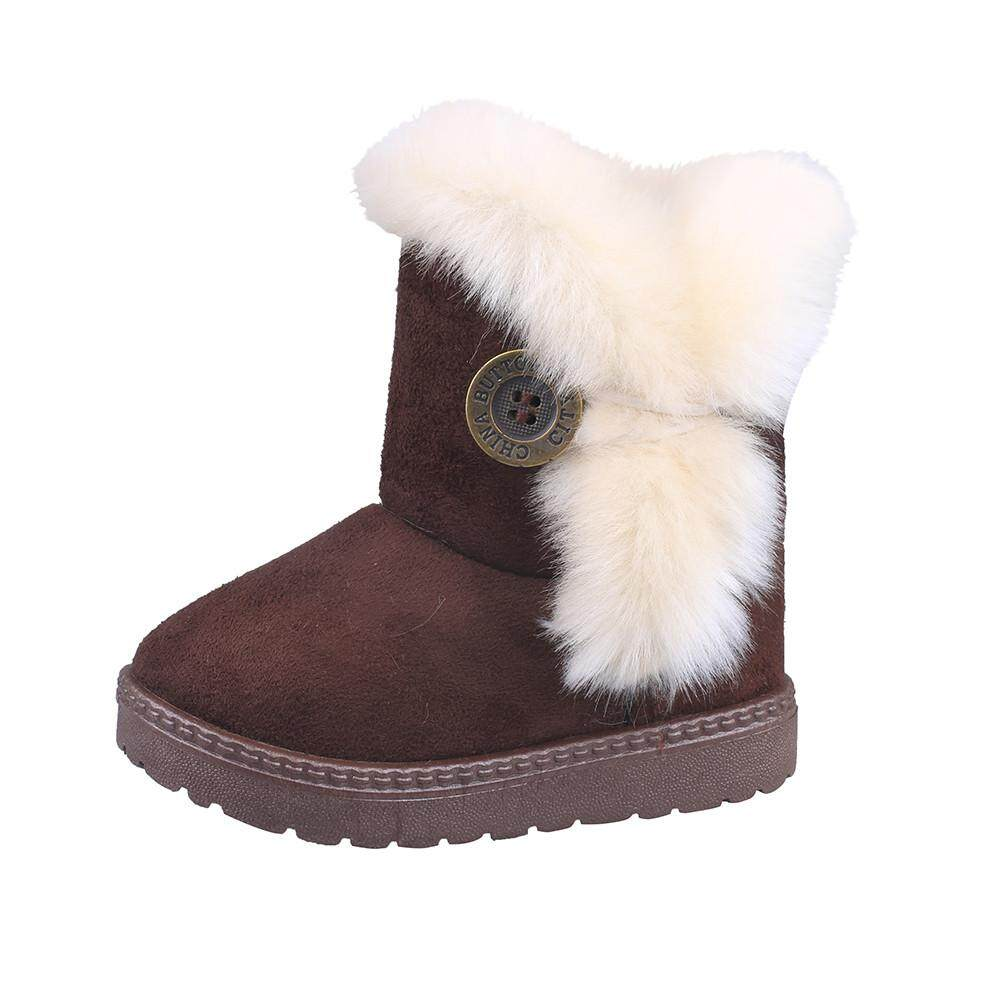 ff240bed1 CNB2C Kids Shoes Fashion Winter Baby Girls Child Snow Boots Cashmere Button  Non-slip Warm Shoes