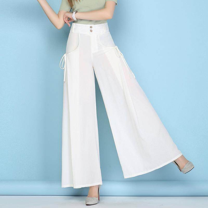 2018 Hot Seller Women High Waist Wide Leg Casual Chiffon Loose Long Pants Summer Thin Loose Culottes Trousers Women's Clothing Pants & Capris