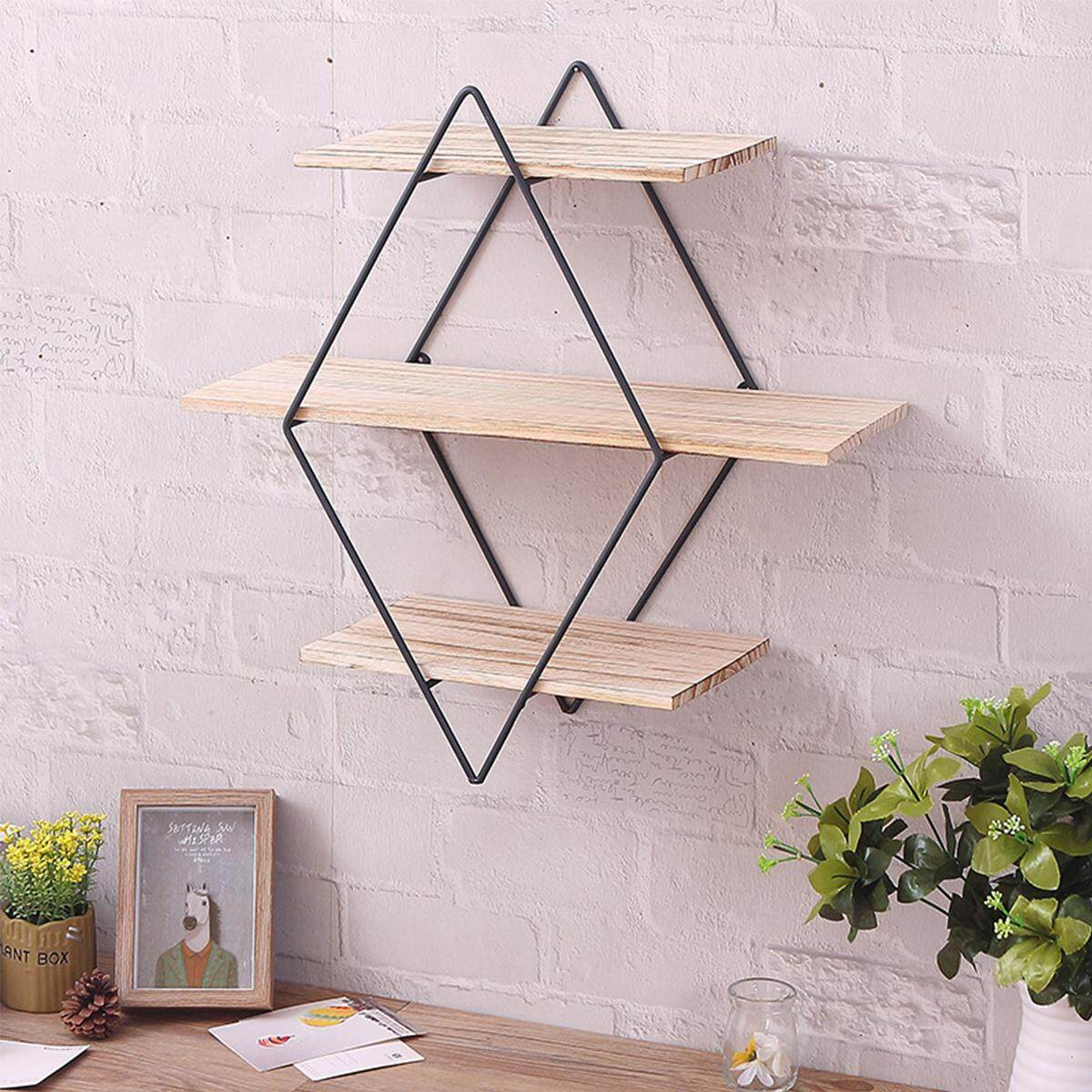 New Retro Industrial Style Rhombus Wood Metal Wall Shelf Rack Storage Home Decor - intl