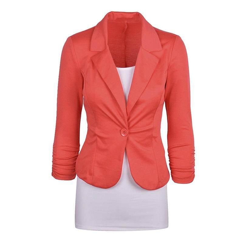Women's Casual Work Solid Color Knit Blazer Plus Size One button Jacket(Orange,M/US-8~10)