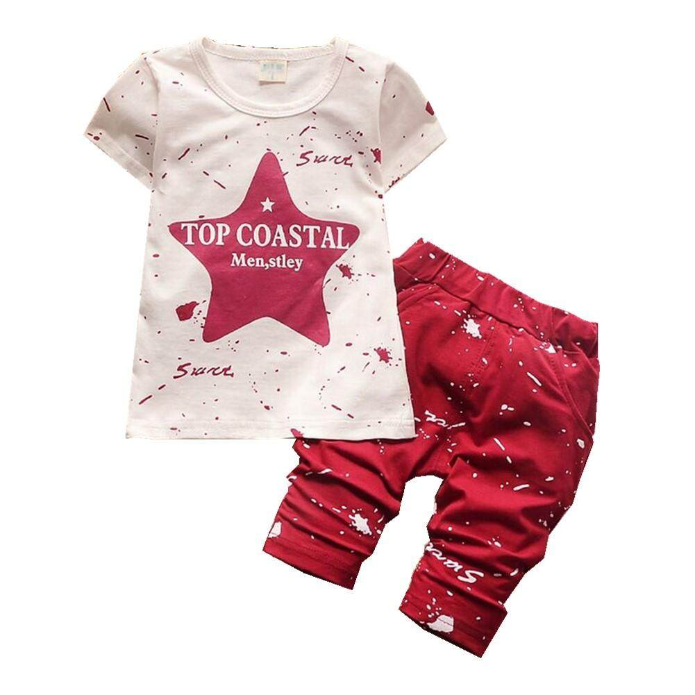 2Pcs Toddler Boys Star Print Pullover Tops+Long Pant Casual Sets Outfits