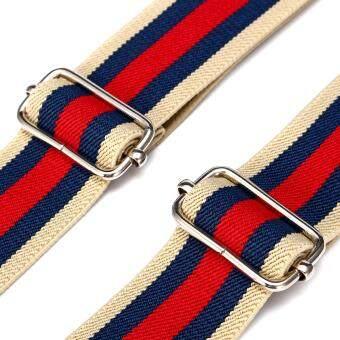 BDXJ301 Red Blue Beige Striped Men's Adjustable Six Clip-on Suspenders  Braces