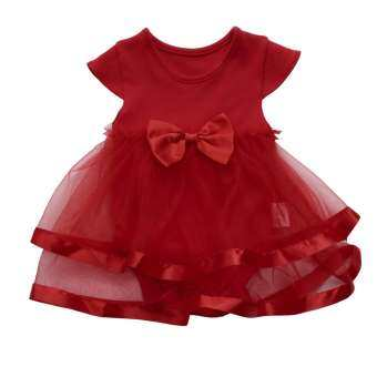 Baby Girls Infant Birthday Tutu Bow Clothes Party Jumpsuit Princess Romper Dress-