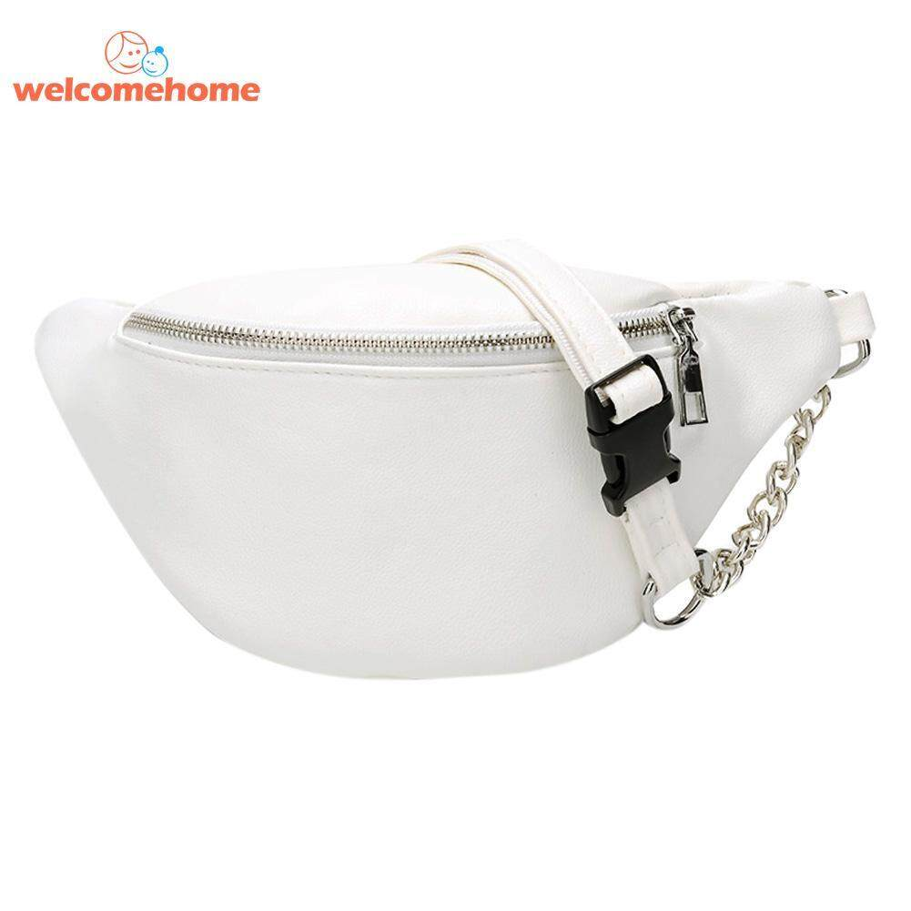 Zipper PU Leather Fanny Waist Pack Women Shoulder Chest Belly Belt Handbags - intl