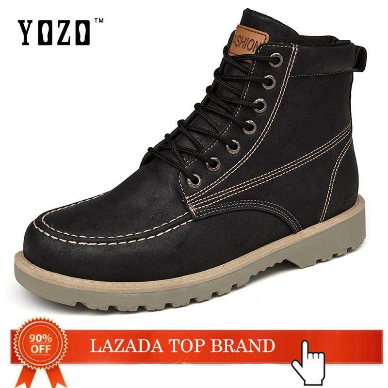 YOZO Men'S Shoes Wear-Resistant Non-Slip Work Boots High Tops Martin Boots Fashion Motorcycle Boots