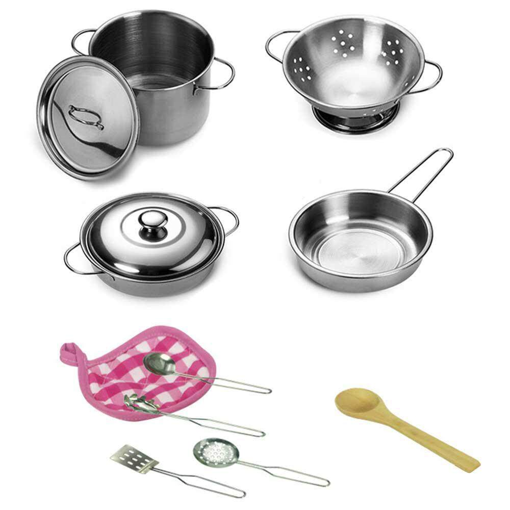 Aolvo Let's Play House! Stainless Steel Pots & Pans Play Set for Kids, Construction, 12 Pieces Kids Kitchen Cooking Toy