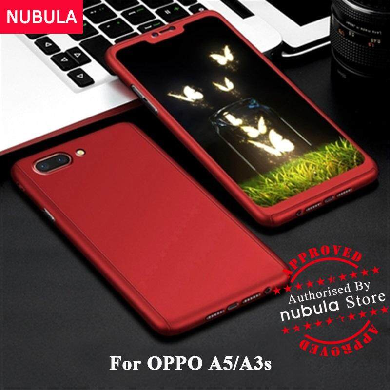 premium selection cfd33 36f66 NUBULA For OPPO A5 OPPO A3s Casing 360 Degree Real Full Body Ultra-thin  Hard Slim PC Case With Tempered Glass For OPPO A5 OPPO A3s