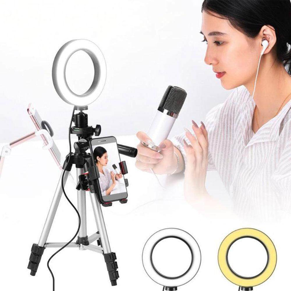 Live Tripods 6 Inch Ring Light Phone Stand Self Tripod For Video Makeup Mini Led Camera Light With Smart Phone Holder Desktop Led Lamp Consumer Electronics