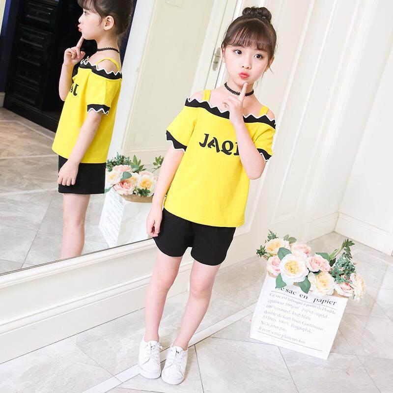 Giá bán Nữ mới phong cách phương Tây Bộ quần áo mùa hè Bộ Sling áo + quần short thời trang trẻ em phù hợp với áo