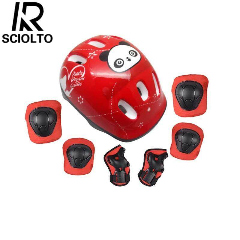 (Free Shipping for WM - Klang Valley,WM - Non Klang Valley,EM - Sabah)SCIOLTO SPORTS 7Pcs/set Children Kids Skate Borading Panda Pattern Protective Devices