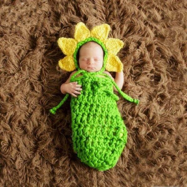 Newborn Baby Girl Boy Photography Props Infant Baby HandmadeCrochet Sunflower Sleeping Bag Fotografia Accessories Hat costume