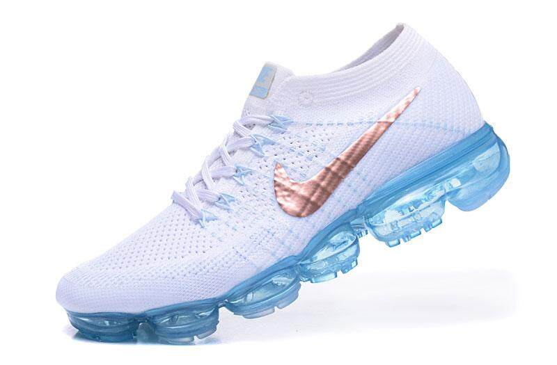 8c9ee34c39b32 2018 Nike  Air  VaporMax Flyknit  Men s Running Shoe Lightweight Sneakers  (White Blue)