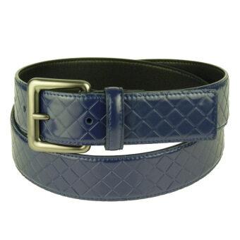 Leather Belt Leather Pressure Knit Lines Neutral Models Fashion Pin Buckle Belt - JINFUL