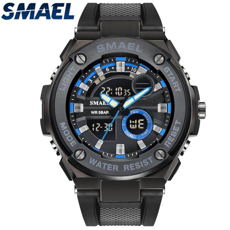 SMAEL Men's Watches Top Brand Luxury Analog LED Digital Dual Display Quartz Watch Men Casual Sport Waterproof Military Watch - intl