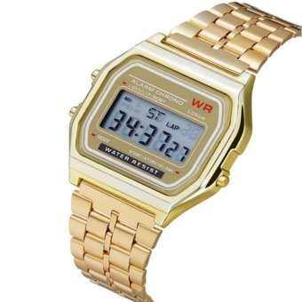 LED ดิจิตอลกันน้ำควอตซ์นาฬิกาข้อมือนาฬิกาข้อมือสีทองผู้หญิงผู้ชาย-