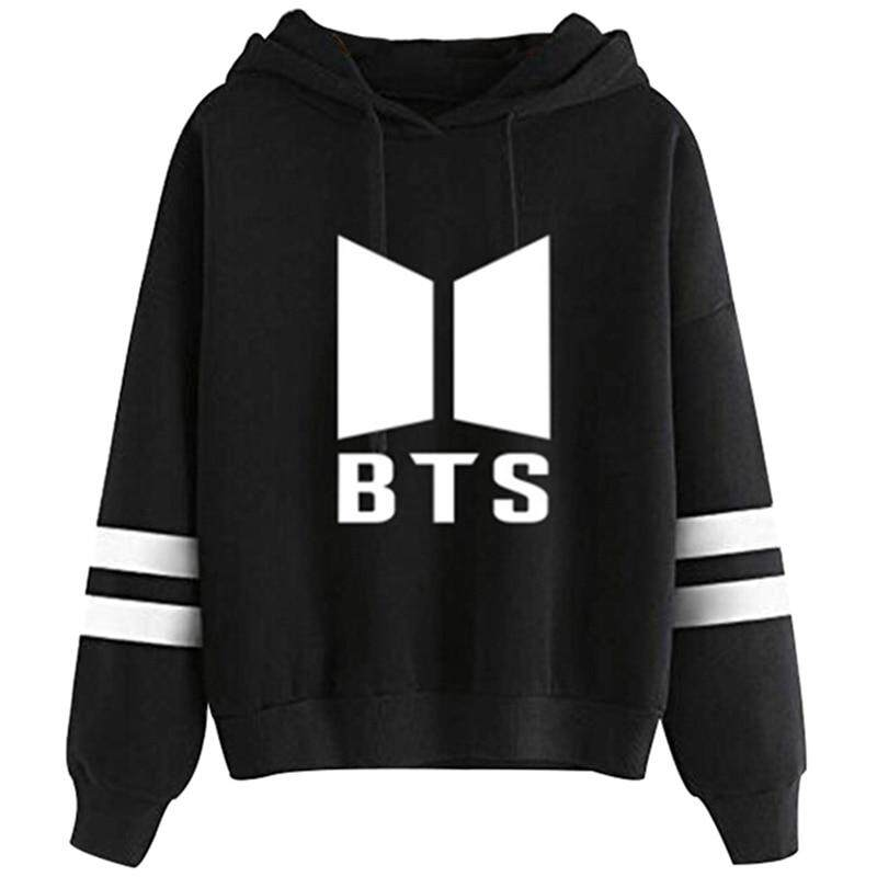 Hoodies Love Yourself Print Pullovers Kpop Korean Style Casual Pullovers,White,M