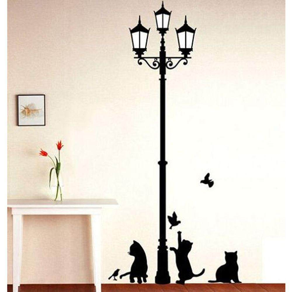 Ancient Lamp Cats and Birds Wall Sticker Home Decor Room Wallpaper