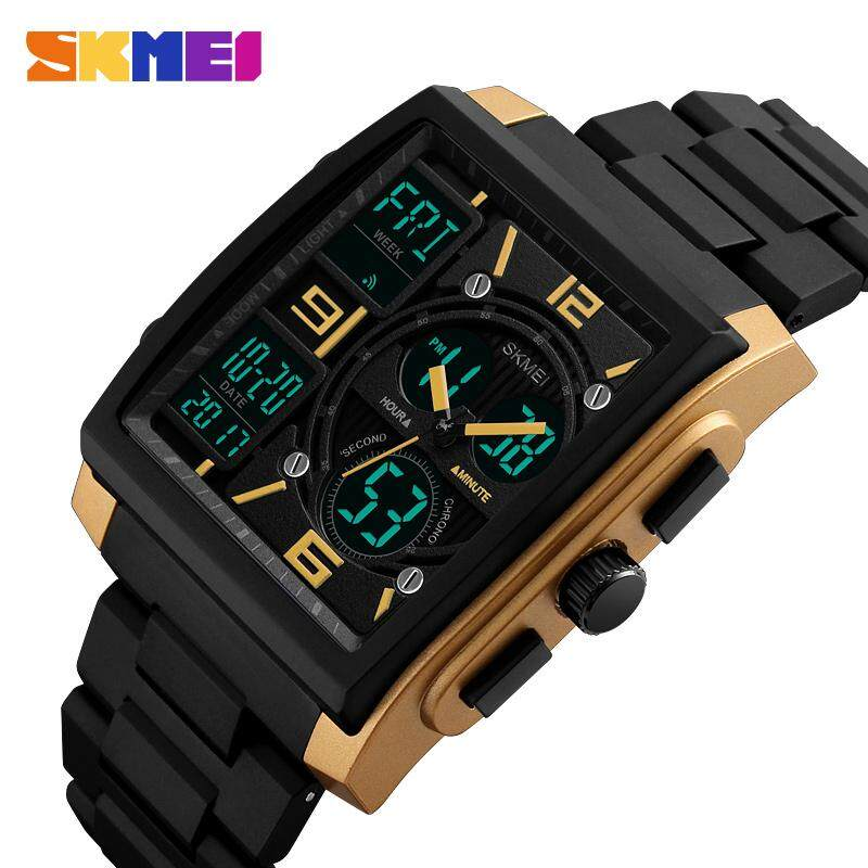2019 New SKMEI Men Square Sports Watches Fashion Digital Countdown Watch Dual Display 3 time Chronograph 50M Waterproof Wristwatches 1274 Malaysia