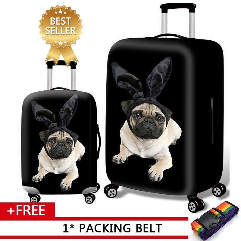 Pug Life Travel Luggage Cover Stretchable Pulling Cloth Suitcase Protector Fits 18-20 Inches Luggage