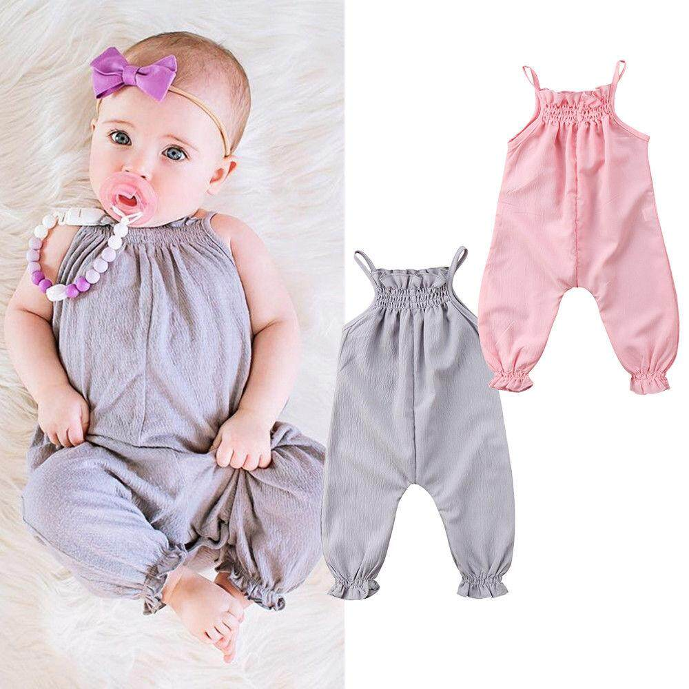 Newborn Kid Baby Girl Sleeveless Romper Jumpsuit Playsuit Overall Summer Outfits