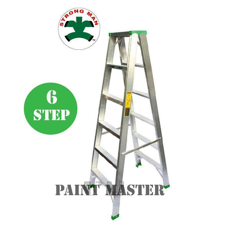 STRONGMAN Aluminium Double Sided Ladder 6 Steps [ Max Reachable Height 286cm ]