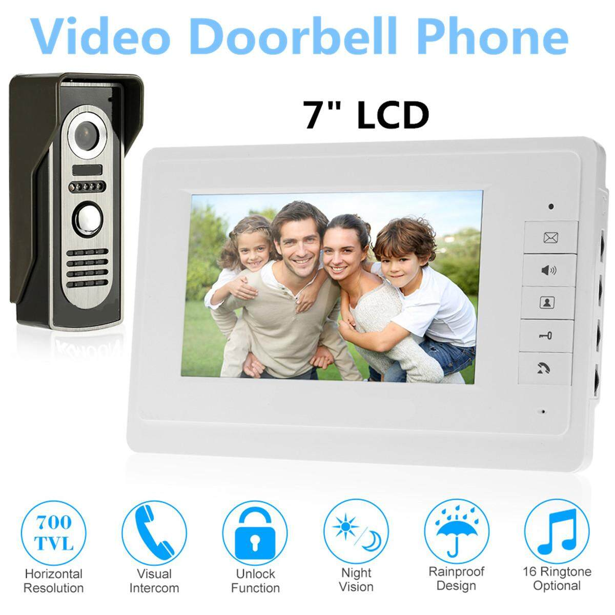 "7"" LCD waterproof Video Doorbell Night Vision US plug - intl"