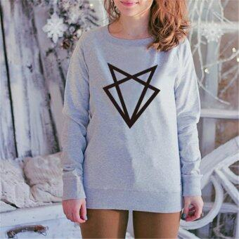 Girlfriends sweater loose letters printed sweater(grey)