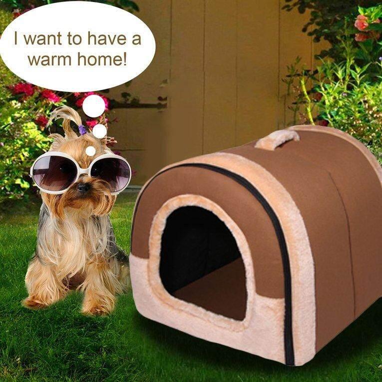 PET rumah cokelat anjing tempat tidur hewan peliharaan bantal dicuci tidur Kennel hewan peliharaan L
