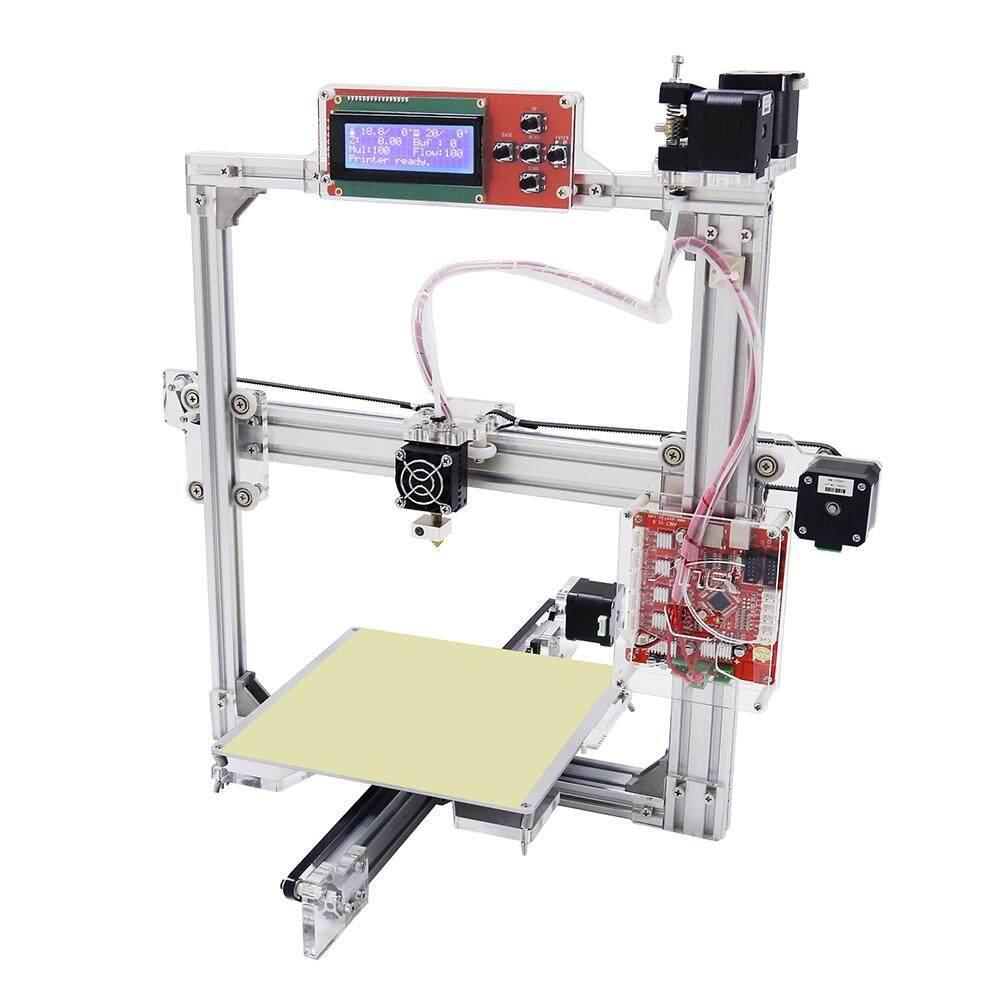 Anet A2 Logam Aluminium 3D Tiga Dimensi Pencetak Pengerjaan Sendiri dengan Tf Kartu Off-Line Printing/LCD Displayus Plug (Perak)