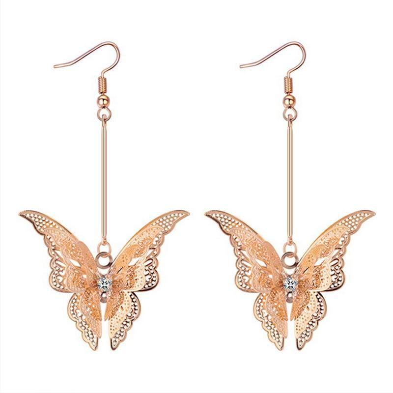 TY Women New Personality Sweet Butterfly Pendant Fashion Long Earrings