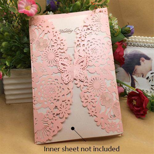 40 Pcs Shinny Pearlescent Paper Wedding Invitation Cards Flower Carved Pattern Hollow Out Cards For Wedding Party Decoration Intl