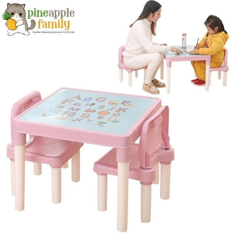 Kid Premium Plastic Study Playing Dining Table With 2 Chairs