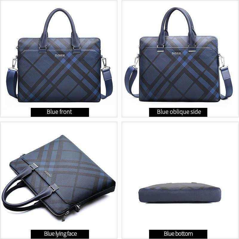 Myzone Padieoe Mens Collection Fashion Business Bag Mens Briefcase Luxury Design 14 Leather Laptop Bag Men