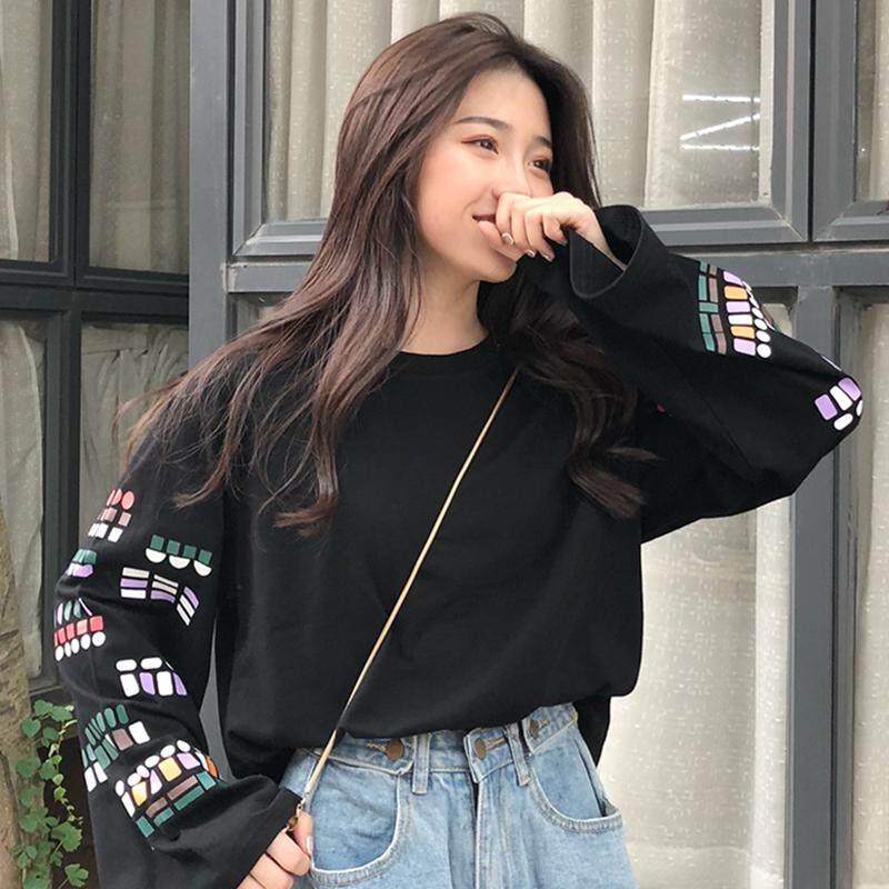 2019 New Style Long,sleeved T,shirt Female Harajuku Loose Korean Style  Ulzzang Versatile Sleeves Printed INS Ultra,Fire of Tops