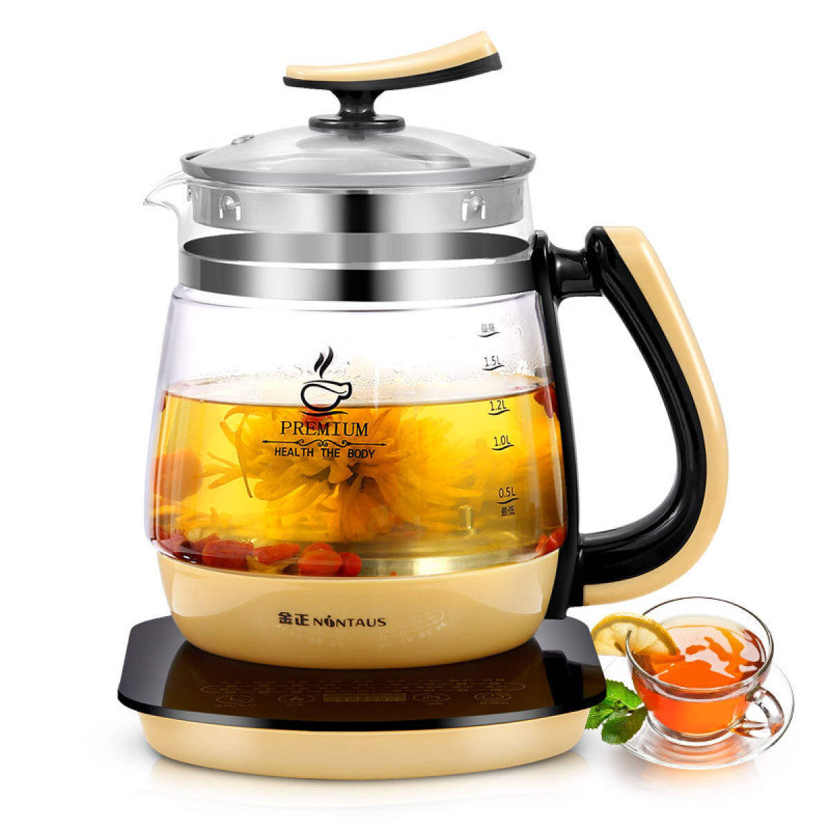 2 Liters Multifunctional Health Kettle Fully Automatic Thickened Glass Household Electric Kettle 220V Tea Pot 185*240*275Mm