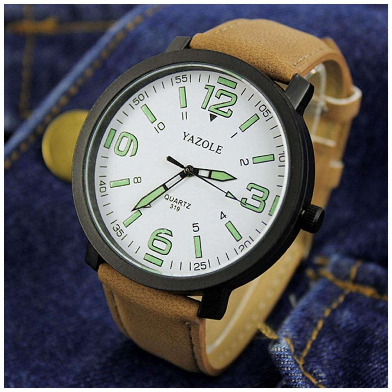 Yazole Simple Digital Large Dial Men's Belt Watch By Yuxin Mall
