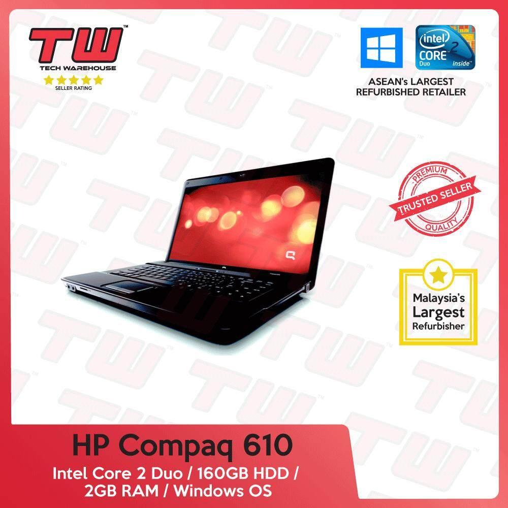 HP Compaq 610 Core 2 Duo / 2GB RAM / 160GB HDD / Windows OS Laptop / 3 Months Warranty (Factory Refurbished) Malaysia