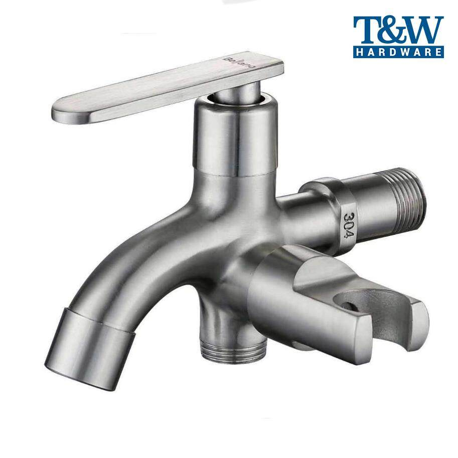 1/2 High Quality Stainless Steel Two Way tap with Bidet Holder Handle Bathroom