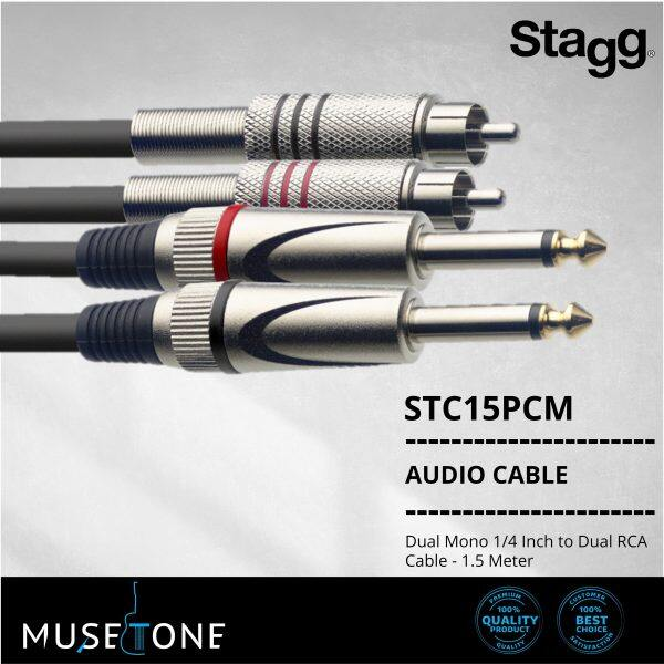 Stagg STC1,5PCM Dual Mono 1/4 Inch to Dual RCA Cable - 1.5 Meter Black STC15PCM Malaysia
