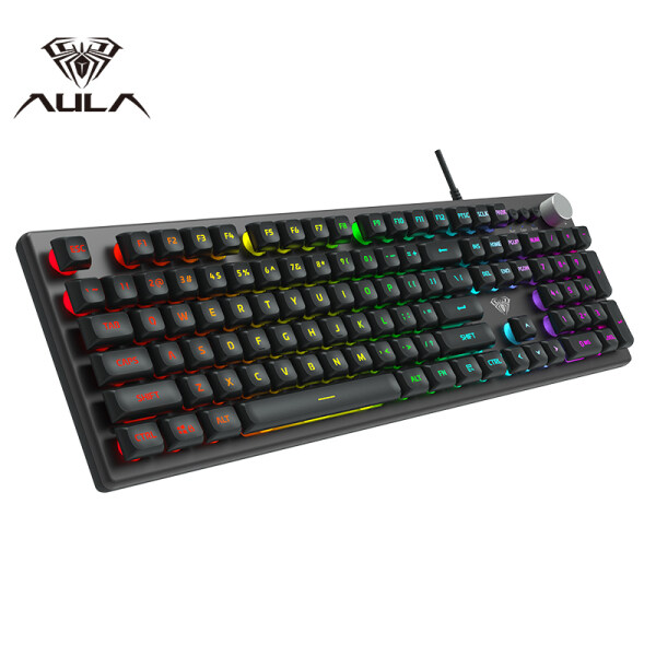 AULA F2028 Membrane Gaming Keyboard Metal Panel USB Wired RGB Backlight Professional Gaming Office Keyboard for Computer Game Laptop PC Office E-sports Singapore