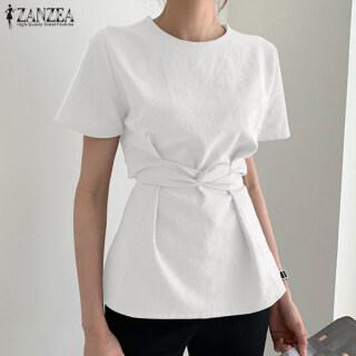 ZANZEA Áo Dài Tay Ngắn Cho Nữ Phong Cách Hàn Quốc Áo Sơ Mi Cotton Màu Trơn Thắt Lưng Áo Cánh Áo Thun thumbnail